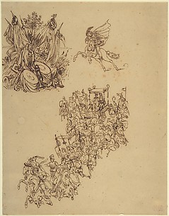 Sheet of Studies:  A Marriage Procession in Sixteenth Century Dress; a Cavalier; and a Trophy of Arms