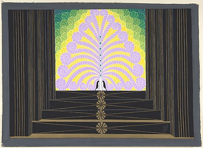 Stage Set Design with Lavender, Yellow and Green Plumes at Top of Black and Gold Stairs for