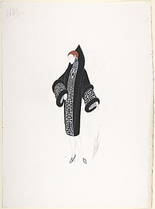 Design for Black Coat Trimmed in Black Fur for