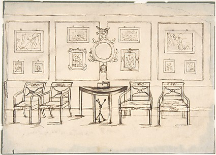 Interior with Four Armchairs, a Round Mirror, Demilune Table and Framed Prints or Drawings