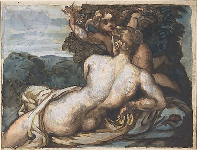 Venus and Cupid in a Landscape, after Annibale Carracci (recto); A Warrior Holding a Shield and Sword, Seen from the Back (verso)
