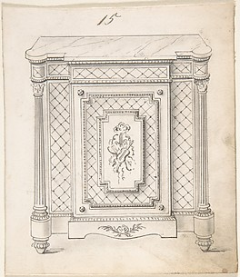 Design for a Marble-topped Cabinet with Musical Ornament