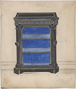 Design for a Black Cabinet with a Blue Interior