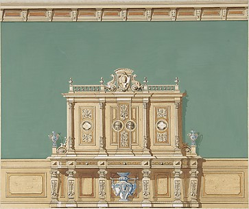 Interior Design with a Large Renaissance Style Cabinet against a Green Wall