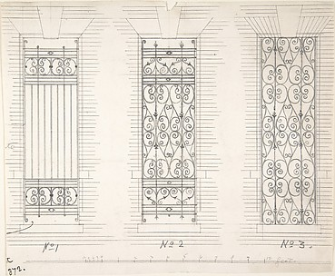 Design for Three Wrought Iron Window Guards