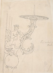 Design for Metal Candleholder Supported by a Sphinx