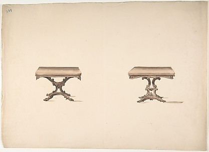 Design for Two Square Tables with Carved Legs
