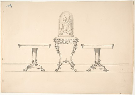 Design for Two Round Pedestal Tables and Square Rococo-style Table Supporting a Clock under Glass