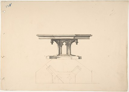 Design for an Octagonal Gothic Pedestal Table: Elevation and Plan
