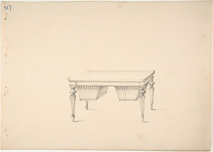 Design for a Worktable with Two Suspended Containers (Verso: Sketch for desk)