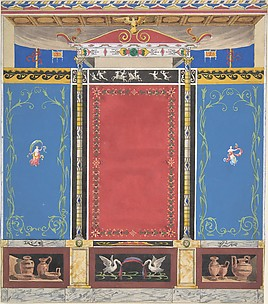 Painted Wall Decor Featuring Thin Column with a Pair of Swans and Trompe L'Oeil Vases at Base