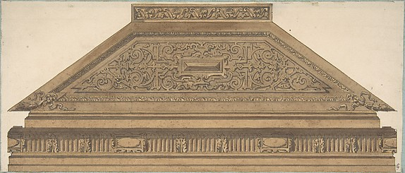 Design for Carved Wood Paneling and Molding Featuring Strapwork