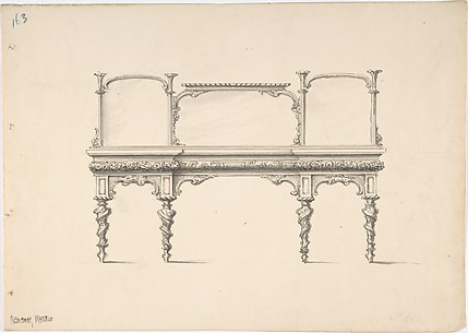 Design for a Sideboard with Mirrors and Turned Legs