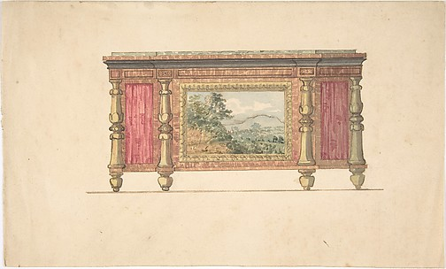 Design for Sideboard with Inset Landscape