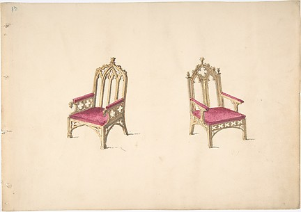 Design for Two Gothic Style Armchairs