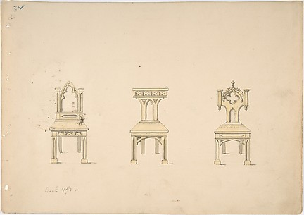 Design for Three Gothic Style Wooden Chairs