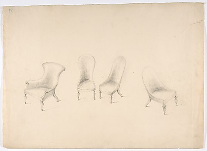 Design for Four Uphostered Chairs on Casters, One with Arms