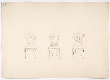 Design for Three Chairs, Two with Armorial Ornament on Backs