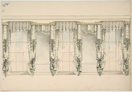 Design for Green and White Curtains with Green Fringes, and White and Gold Pediments