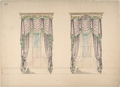 Design for Pink and White Curtains with Green Fringes, and Gold and White Pediments