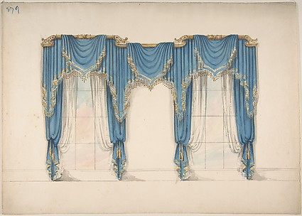 Design for Blue Curtains with Gold Fringes and Pediments