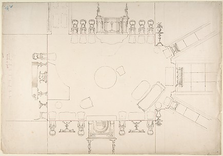 Plan and Elevations of a Music Room