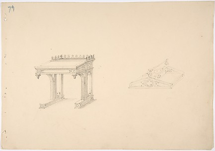 Design for a Gothic Desk and Tray