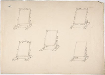 Design for Five Table Top Mirrors with Varying Ornament