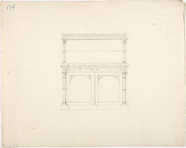 Design for a Gothic Style Mirrored Cabinet