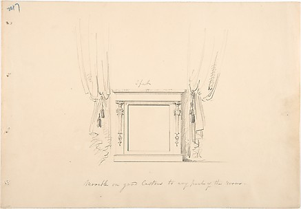 Design for a Small Cabinet Between Curtains