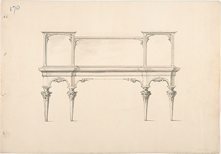 Design for a Mirrored Sideboard with Pointed Legs and Floral Ornament