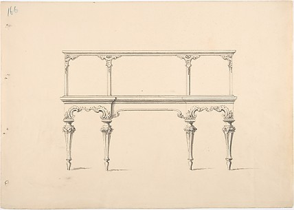 Design for a Mirrored Sideboard with Diminishing Legs, Floral and Rocaille Ornament