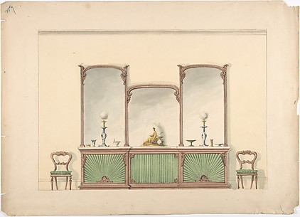 Design for a Mirrored Three Sectioned Marble-topped Cabinet and Two Chairs
