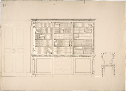 Design for a Large Bookcabinet, with a Door at Left and a Chair at Right