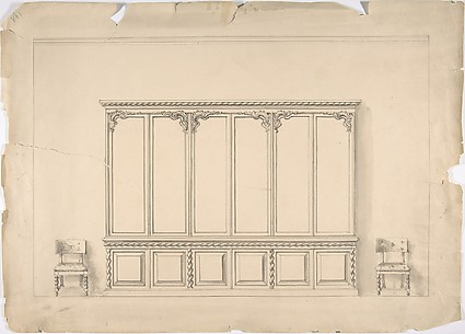 Design for a Very Large Cabinet  with Turned Elements, and Two Chairs
