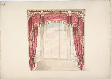 Design for Red Curtains with Gold Fringes and Gold and White Pediment