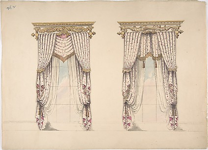 Design for Pink and White Curtains with Gold Fringes, and Gold and White