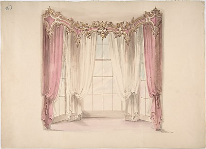 Design for Pink Curtains and White Inner Curtains, with a Gold, White and Pink Pediment