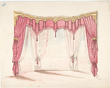 Design for Red Fringed and Tasseled Curtains with a Gold Pelmet