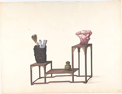 Table with Three Levels with Ornamental Objects