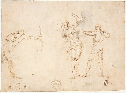 The Martyrdom of Saint Sebastian (recto); Bearded Old Man Blessing Seen in Half-length (verso)