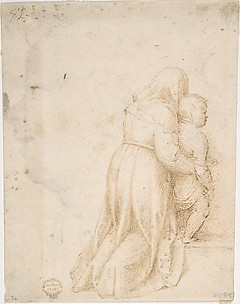 Woman and Child Kneeling (recto); Head of Child (verso)