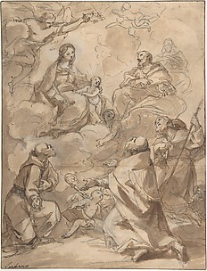 The Holy Family Appearing to St. Francis, St. Augustine, and St. Roch