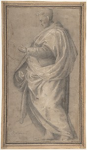 Drapery Study for a Standing Male Figure in Profile Facing Left.