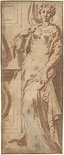 Standing Female Figure and Ornamental Framework.
