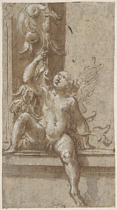 A Putto Seated on a Frame
