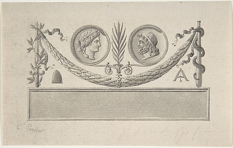 Vignette with Two Portrait Medallions