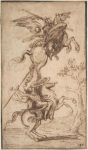 The Sorcerer Atlante Abducting Pinabello's Lady (Ariosto, Orlando Furioso, canto II, 38)