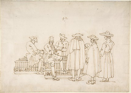 A Group of Figures Surrounding Two Bird-coops