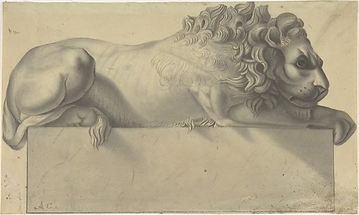 Drawing after a Lithograph of a Recumbent Lion.